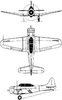 Plan 3 vues du Douglas SBD Dauntless
