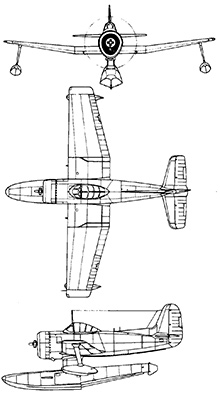Plan 3 vues du Curtiss SC Seahawk