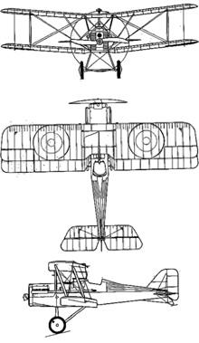 Plan 3 vues du R.A.F. SE.5