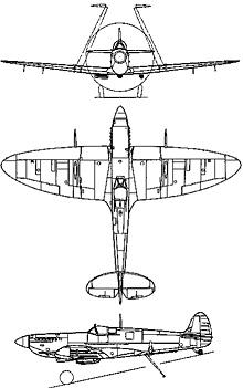 Plan 3 vues du Supermarine  Seafire