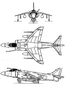 Plan 3 vues du British Aerospace Sea Harrier