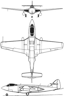 Plan 3 vues du Hawker  Sea Hawk