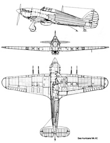 Plan 3 vues du Hawker Sea Hurricane
