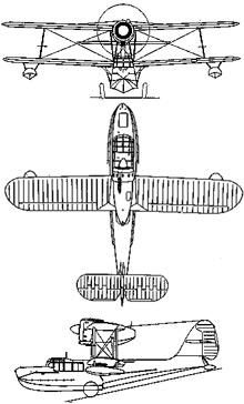 Plan 3 vues du Supermarine  Sea Otter