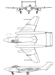 Plan 3 vues du De Havilland D.H.110 Sea Vixen