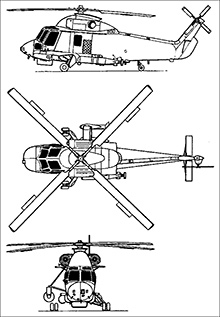Plan 3 vues du Kaman SH-2 Seasprite