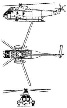Plan 3 vues du Sikorsky SH-3 Sea King