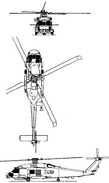 Plan 3 vues du Sikorsky SH-60 Seahawk