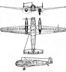 Plan 3 vues du Siebel Si 204