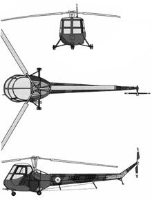 Plan 3 vues du Saunders-Roe  Skeeter