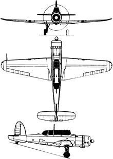 Plan 3 vues du Blackburn B-24 Skua