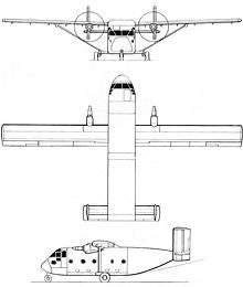 Plan 3 vues du Short SC.7 Skyvan
