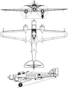 Plan 3 vues du Savoia-Marchetti SM.79 Sparviero