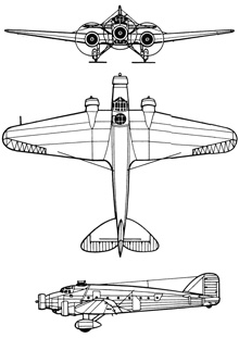 Plan 3 vues du Savoia-Marchetti SM.81 Pipistrello