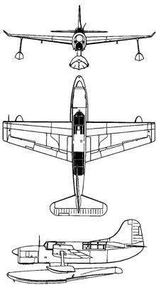 Plan 3 vues du Curtiss SO3C Seamew