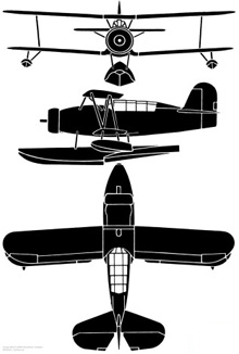 Plan 3 vues du Curtiss SOC Seagull