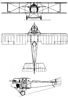 Plan 3 vues du SPAD A2