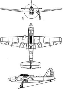 Plan 3 vues du Fairey Spearfish