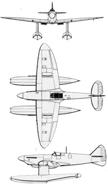 Plan 3 vues du Folland Spitfire Floatplane
