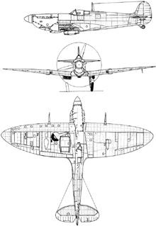 Plan 3 vues du Supermarine Spitfire