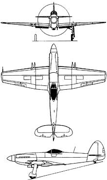 Plan 3 vues du Supermarine  Spitful/Seafang
