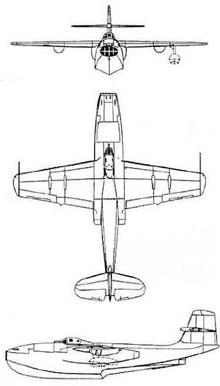 Plan 3 vues du Saunders-Roe SR.A/1