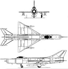 Plan 3 vues du Sukhoï Su-11  'Fishpot'