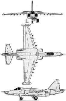 Plan 3 vues du Sukhoï Su-25 Scorpion 'Frogfoot'