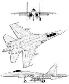 Plan 3 vues du Sukhoï Su-27  'Flanker'