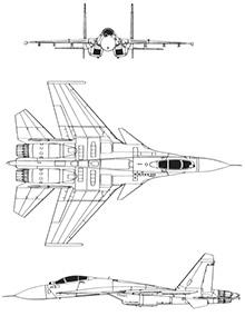 Plan 3 vues du Sukhoi Su-33 'Flanker-D'