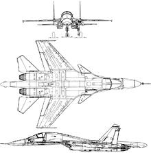Plan 3 vues du Sukhoï Su-34  'Fullback'