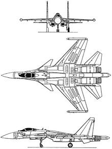 Plan 3 vues du Sukhoï Su-37 Terminator 'Super Flanker'