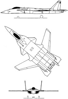 Plan 3 vues du Sukhoï Su-47 Berkut