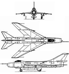 Plan 3 vues du Sukhoï Su-7  'Fitter'
