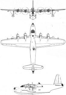 Plan 3 vues du Short S.26 Sunderland