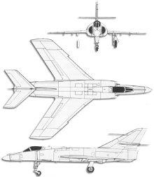 Plan 3 vues du Dassault  Super-Etendard
