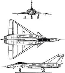 Plan 3 vues du Dassault Aviation Super Mirage 4000