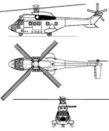 Plan 3 vues du Aérospatiale AS.332 (EC 225) Super Puma