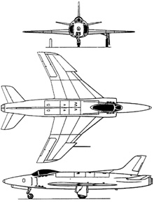 Plan 3 vues du Supermarine  Swift