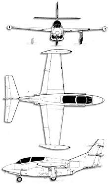Plan 3 vues du North American T-2 Buckeye