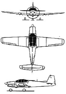 Plan 3 vues du Neiva T-25 Universal