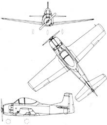 Plan 3 vues du North American T-28 Trojan