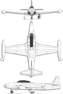 Plan 3 vues du Lockheed T-33 T-Bird