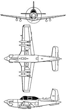 Plan 3 vues du Beechcraft T-34 Mentor / Turbo Mentor
