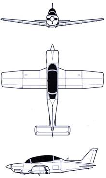 Plan 3 vues du ENAER T-35 Pillán