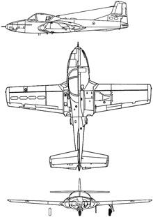 Plan 3 vues du Cessna T-37 Tweet