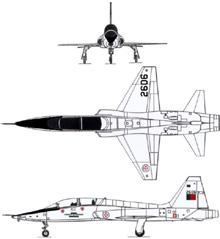 Plan 3 vues du Northrop T-38 Talon
