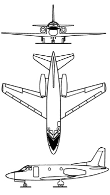 Plan 3 vues du North American T-39 / CT-39 Sabreliner