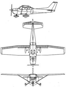Plan 3 vues du Cessna T-41 Mescalero
