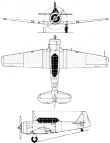 Plan 3 vues du North American T-6 Texan